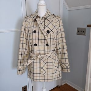 Coach Short Trench Coat Tattersall Plaid Small